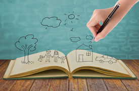 stock photo of freehand drawing  - Hand draw in open book of lovely family - JPG
