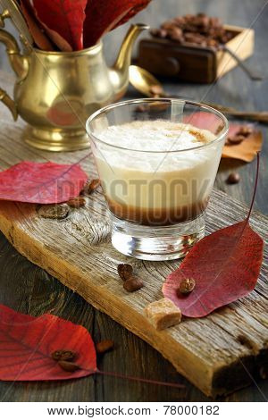 Coffee Cortado And Autumn Leaves.
