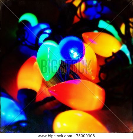Instagram filtered image of vintage style christmas lights, soft focus