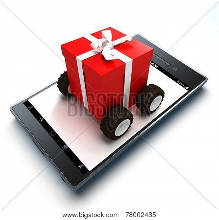 Present with wheels jutting out of a handheld device