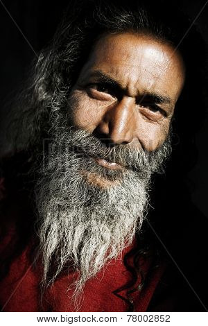 Indigenous senior Indian man looking at the camera.