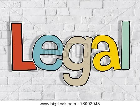 Legal Brick wall Single Word Text Background Clean Concept