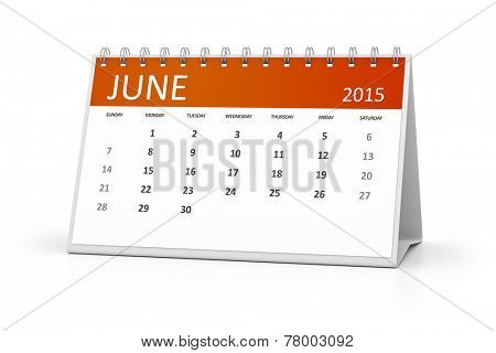 An image of a table calendar for your events June 2015