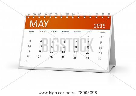 An image of a table calendar for your events May 2015