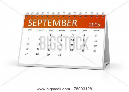 An image of a table calendar for your events September 2015