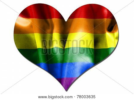 Gay Pride Love Heart Flag