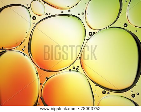 Water Drops In Oil On Colorful Background