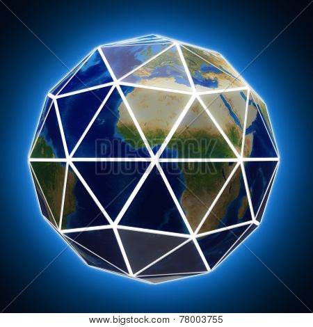 Faceted Globe With White Edges.