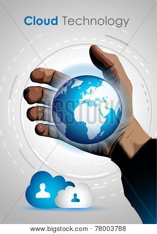 Cloud technology concept image to show data storage and online access to computer services from all over the world. Ideal for brochure, covers or flyers.