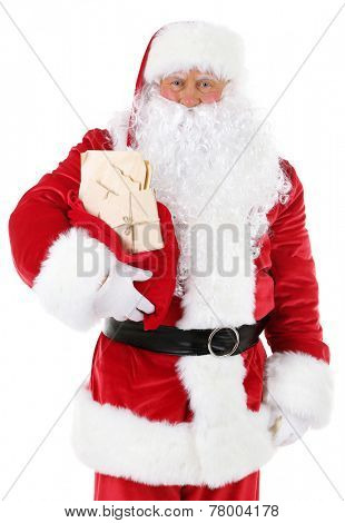 Santa Claus holding bag with letters isolated on white background