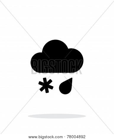 Sleet weather icon on white background.