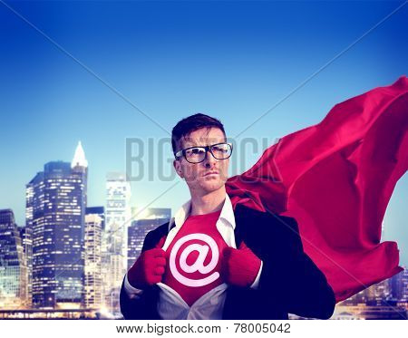 At sign Strong Superhero Success Professional Empowerment Stock Concept