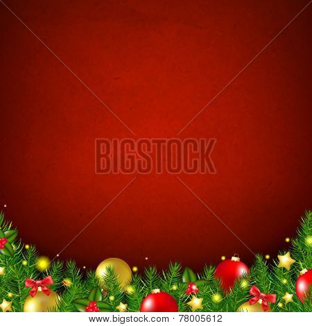 Red Christmas Poster  With Gradient Mesh, Vector Illustration