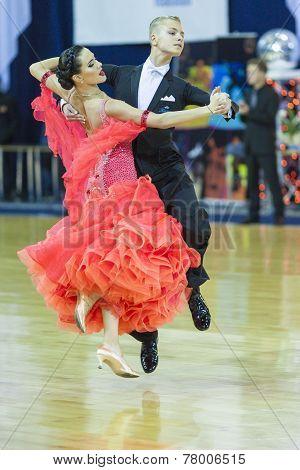 Minsk-belarus, October 5, 2014: Professional Dance Couple Of Boldysh Egor And Mineeva Polina Perform