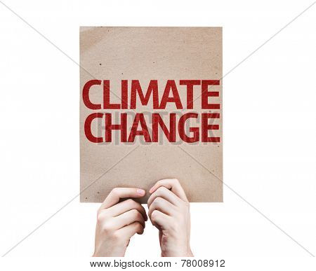 Climate Change card isolated on white background