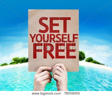 Set Yourself Free card with a beach on background