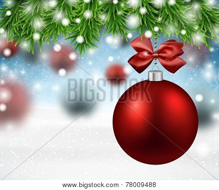 Red bauble. Winter background with spruce twigs. Vector illustration.