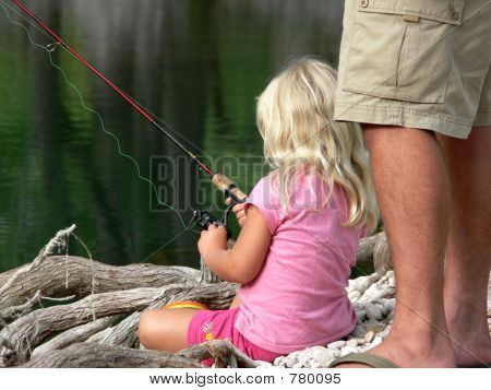 dads lil girl fishing