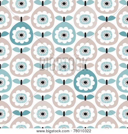 Seamless retro abstract pear fruit poppy flower blue pastel vintage floral background pattern in vector
