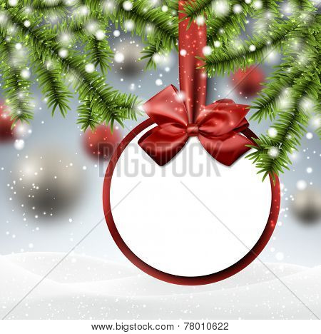 Paper bauble. Winter background with spruce twigs. Vector illustration.
