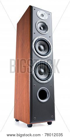 Wooden Sound Speakers On White Background