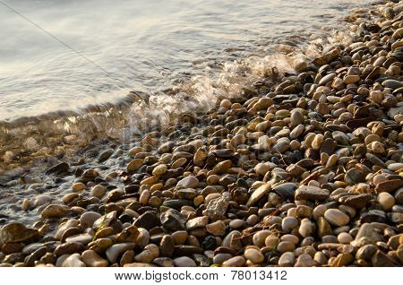 Pebbles at sunset