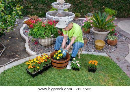 Adult Senior Planting Flowers