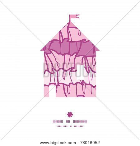 Vector pink ruffle fabric stripes house silhouette pattern frame