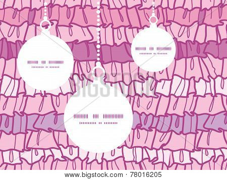 Vector pink ruffle fabric stripes Christmas ornaments silhouettes pattern frame card template