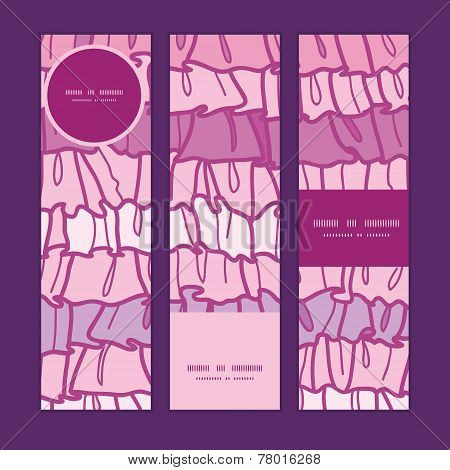 Vector pink ruffle fabric stripes vertical banners set pattern background