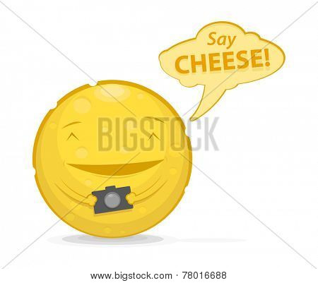Vector illustration of funny cheese with photo camera and speech bubble