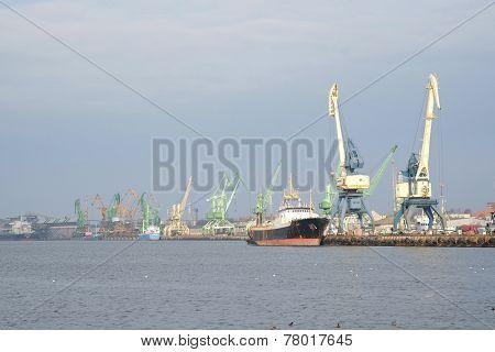 KLAIPEDA, LITHUANIA - November 17: Ships in Klaipeda Harbour on November  17, 2014 Klaipeda, Lithuania. The Port of Klaipeda