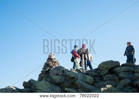 Travelers on top Mount Washington.
