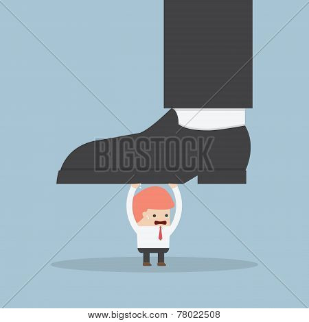 Businessman Holding Big Businessman Foot