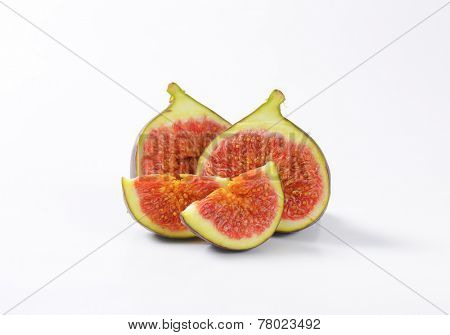 halved sweet juicy fig with red pulp