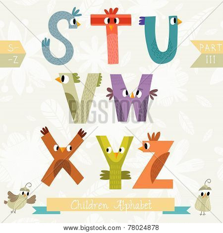 Very Cute Children Alphabet Made Of Characters Birds In Vector . Part Iii. Learn To Read. Isolated.a