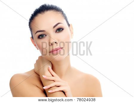 Beautiful female with clean fresh skin, white background