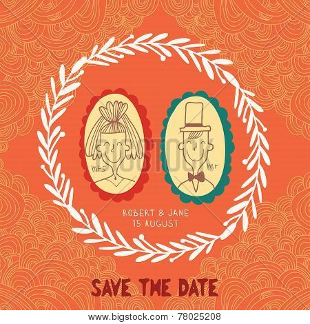 Beautiful Save The Date Card In Vintage Style