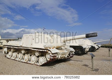 Russian made ISU-152 self propelled gun captured by IDF during Six Day War in Sinai on display