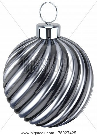 New Years Eve Bauble Decoration Christmas Ball Silver Black