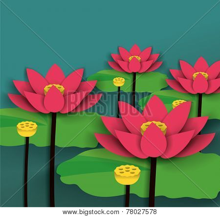 Lotus Chinese New Year Vector.