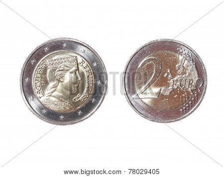 Two 2 Euro Coin Money Obverse Reverse Latvian Republic New