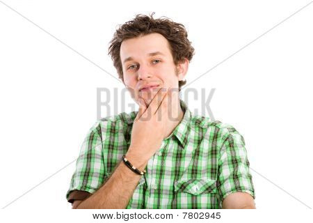 Young Male Trying To Make A Decision, Contemplating, Isolated On White