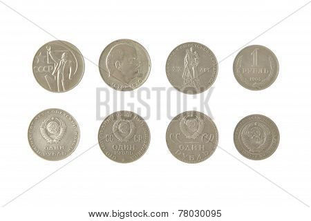 Money Soviet Coins Roubles Lenin Isolated