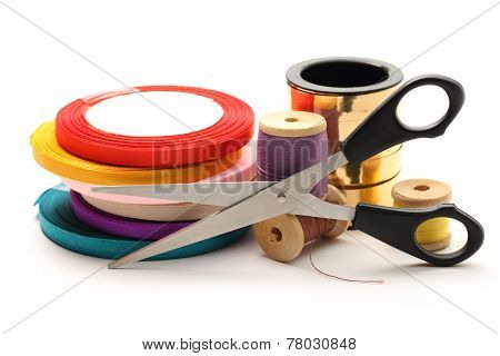 Thread Bobbins, Scissors And Reels Of Ribbon