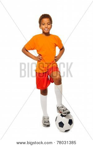 Little African soccer player boy isolated