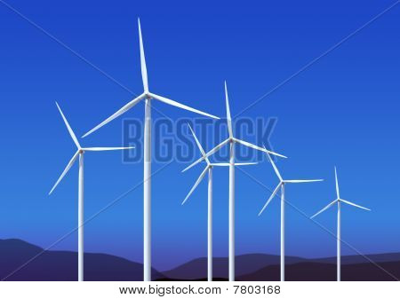 Wind Turbines On Blue Sky