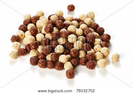 Crunchy Chocolate Balls On White Background