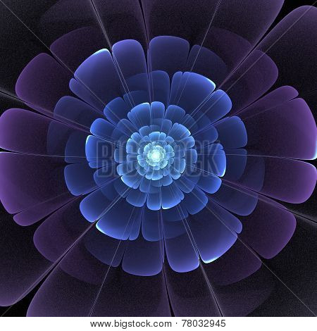 Blue And Black Transparent 3D Fractal Abstract Flower