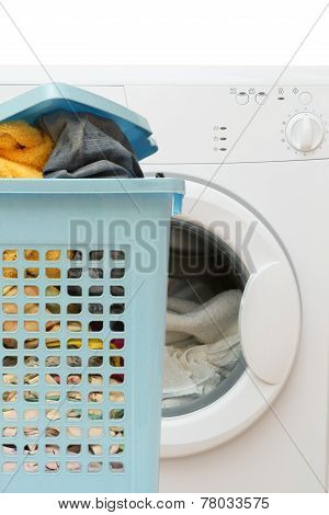 Basket Full Of Clothes And Clothes Washer